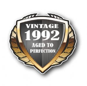 1992 Year Dated Vintage Shield Retro Vinyl Car Motorcycle Cafe Racer Helmet Car Sticker 100x90mm